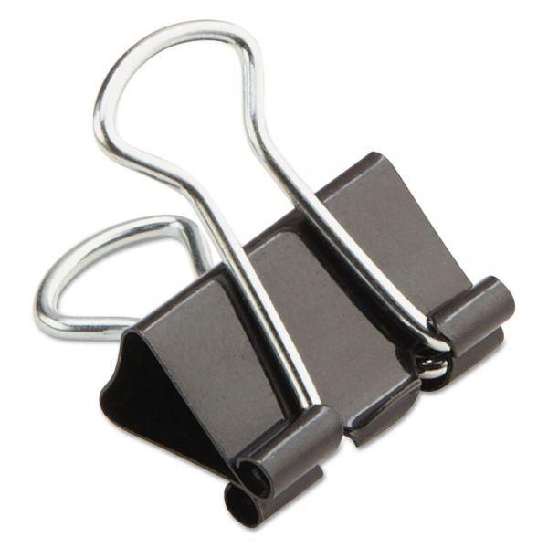 "Universal Mini Binder Clips, 1/4"" Capacity, 5/8"" Wide, Black, 12/Box"