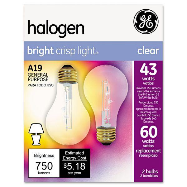 GE Halogen Bulb, Globe, 43 Watts, 2/Pack