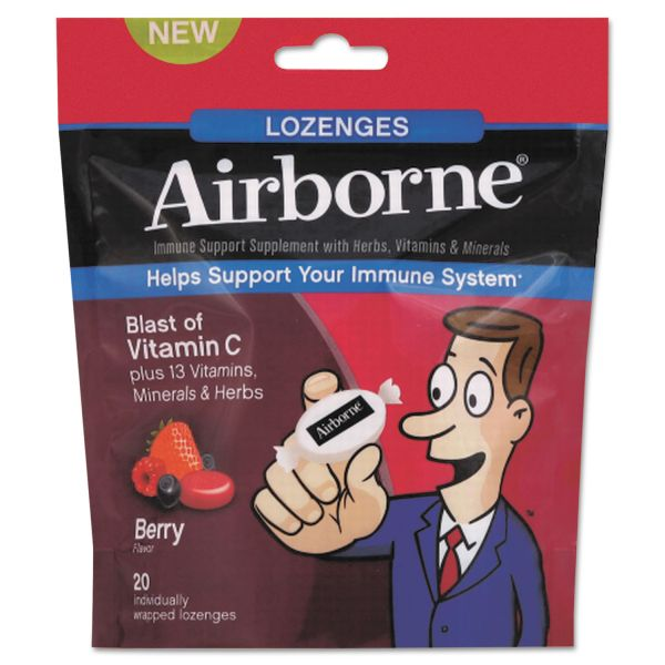 Airborne Immune Support Lozenge, Berry Flavor, 20/PK, 12 PK/CT