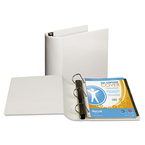 """Samsill Top Performance DXL 3-Ring View Binder, 4"""" Capacity, Angle-D Ring, White"""
