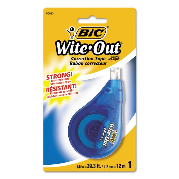 "BIC Wite-Out EZ Correct Correction Tape, Non-Refillable, 1/6"" x 472"""