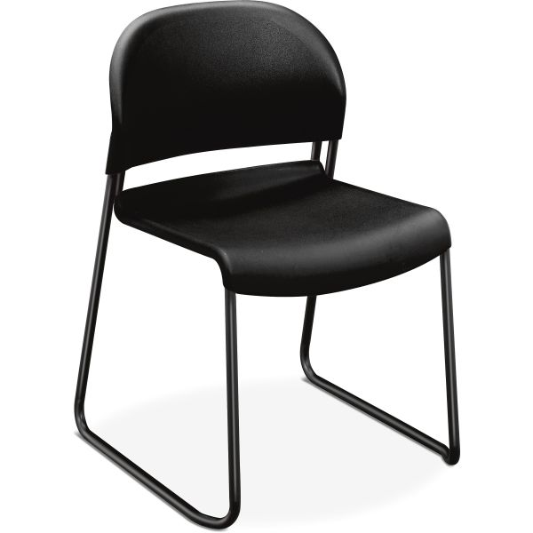 HON GuestStacker Series Chair, Black with Black Finish Legs, 4/Carton