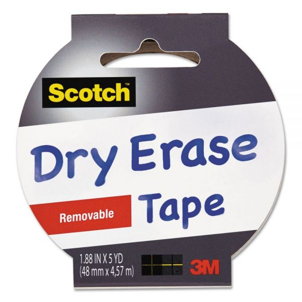 "Scotch Dry Erase Tape, 1.88"" x 5yds, 3"" Core, White"