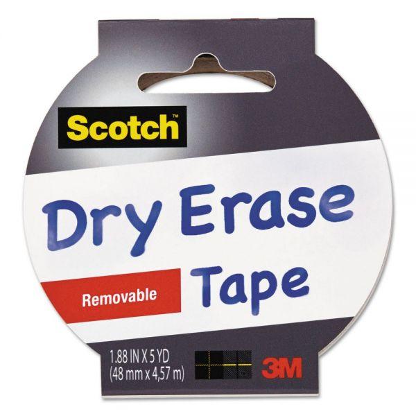 "Scotch Dry Erase Tape, 1.88"" x 5yds, 3"" Core, White"