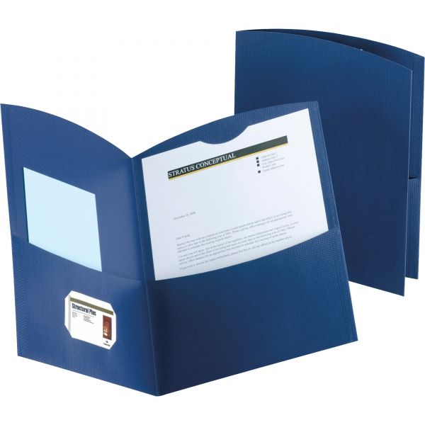 Oxford Contour Two-Pocket Recycled Paper Folder, 100-Sheet Capacity, Dark Blue, 25/Box