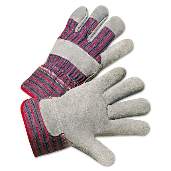 Anchor Brand Leather Palm Work Gloves, Gray/Blue/White, Large, 12 Pairs