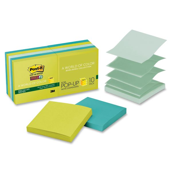 """Post-it 3"""" x 3"""" Super Sticky Recycled Pop-Up Notes"""
