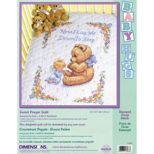 Dimensions Baby Hugs Sweet Prayer Quilt Stamped Cross Stitch Kit