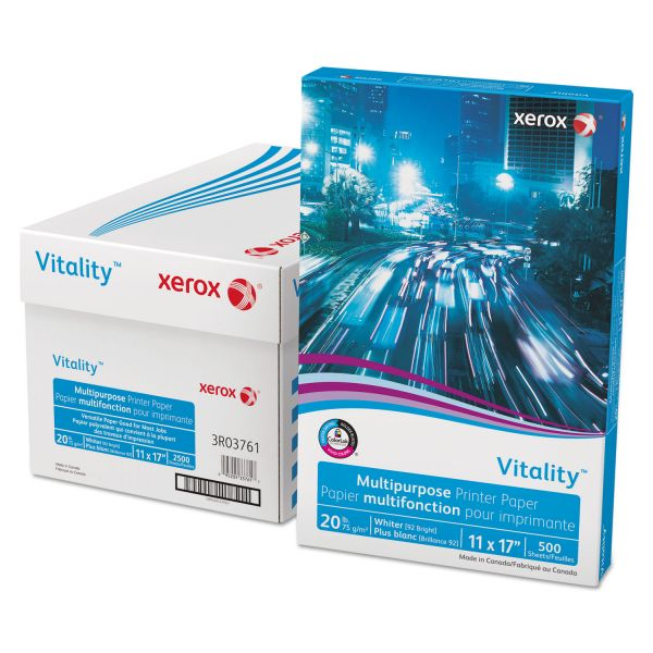 "Xerox Vitality White 11"" x 17"" Copy Paper"
