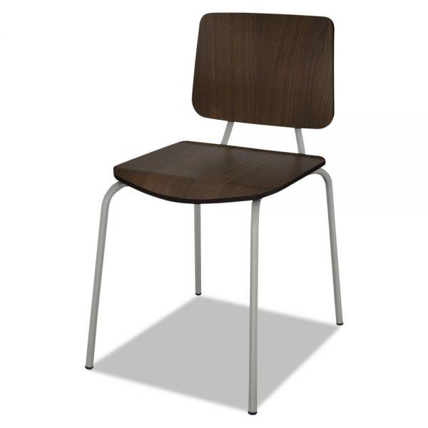 Linea Italia Trento Line Sienna Stacking Wood Chair, Mocha, Stacks 6 High, 2/Carton