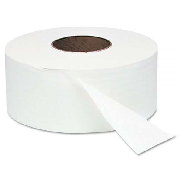 "Windsoft White Jumbo Roll One-Ply Bath Tissue, 9"" dia, 2000ft, 12 Rolls/Carton"