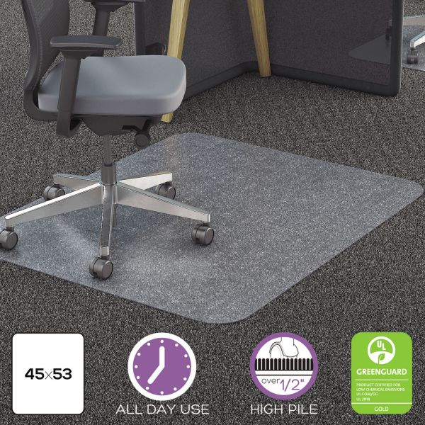 deflecto Clear Polycarbonate All Day Use Chair Mat for All Pile Carpet, 45 x 53