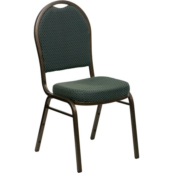 Flash Furniture HERCULES Series Dome Back Stacking Banquet Chair with Green Patterned Fabric and 2.5'' Thick Seat - Gold Vein Frame