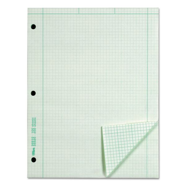 TOPS Engineering Computation Pad, 5 Squares, Quad Rule, Ltr, Green, 100-Sheet/Pd