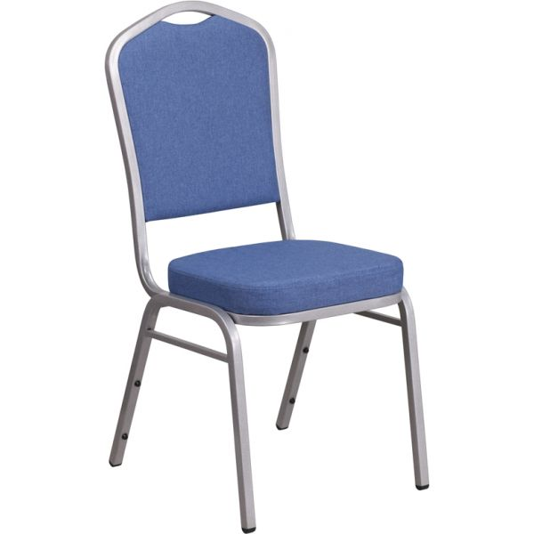 Flash Furniture HERCULES Series Crown Back Stacking Banquet Chair with Blue Fabric and 2.5'' Thick Seat - Silver Frame