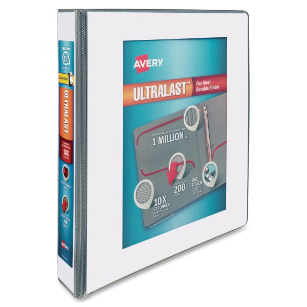 "Avery UltraLast 3-Ring View Binder w/1-Touch Slant Rings, 1 1/2"" Capacity, White"