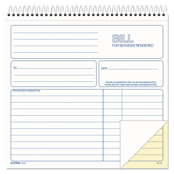 TOPS 2-part Carbonless Wirebound Invoice Book