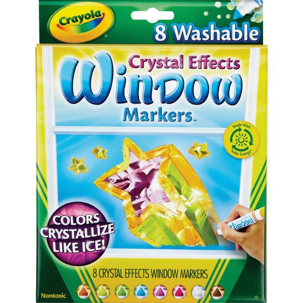Crayola Washable Window FX Markers, Conical, Astd Crystalized Colors, 8/Set