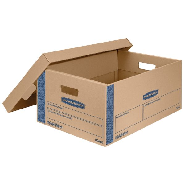 Bankers Box SmoothMove Prime Large Moving Boxes with Lift Lids