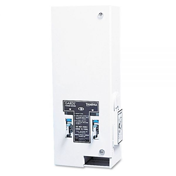 HOSPECO Dual Sanitary Napkin/Tampon Dispenser, Coin, Metal, 10 x 6 1/2 x 26 1/4, White