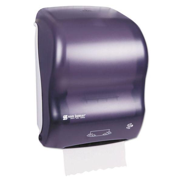 San Jamar Mechanical Hands-Free Towel Dispenser, 11 4/5w x 9 1/4d x 16 1/5h, Black