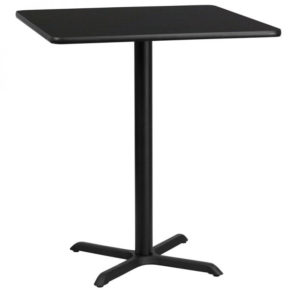 Flash Furniture 36'' Square Black Laminate Table Top with 30'' x 30'' Bar Height Table Base