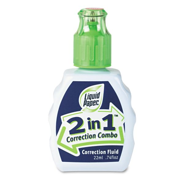 Paper Mate Liquid Paper 2-In-1 Correction Combo, 22 ml Bottle, White