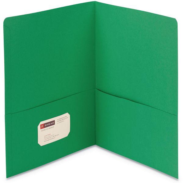 Smead Two-Pocket Folder, 100-Sheet Capacity, Green, 25/Box
