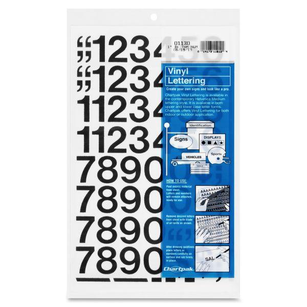 Chartpak Press-On Vinyl Numbers, 1 High, Black