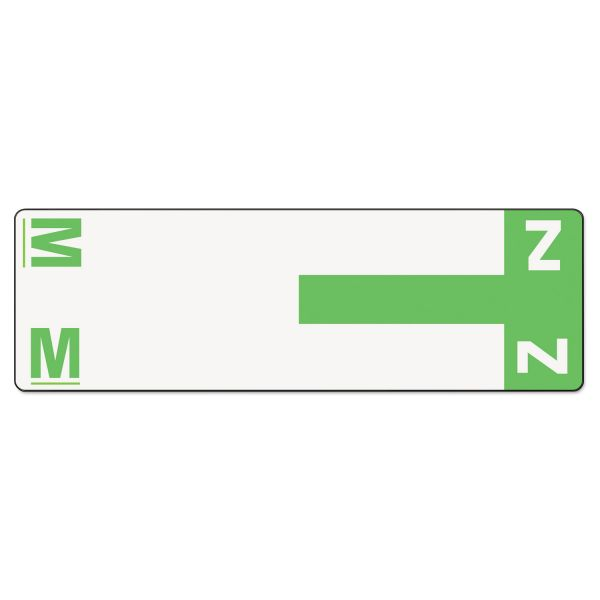 Smead Alpha-Z Color-Coded First Letter Name Labels, M & Z, Light Green, 100/Pack
