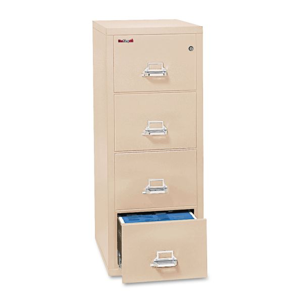 FireKing Four-Drawer Vertical Legal File, 20 13/16 x 31 9/16, UL 350° for Fire, Parchment