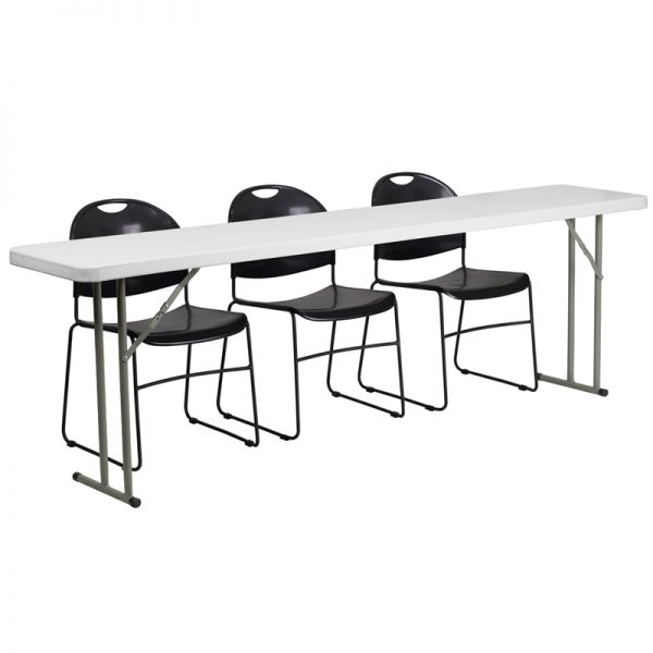 Flash Furniture 18'' x 96'' Plastic Folding Training Table with 3 Black Plastic Stack Chairs