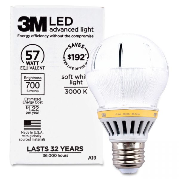 3M LED Advanced Light Bulbs A-19 - Soft White