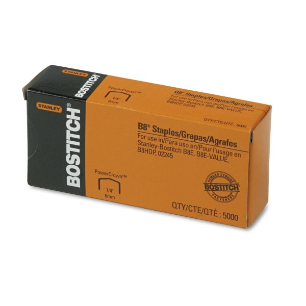"Bostitch B8 PowerCrown Premium Staples, 1/4"" Leg Length, 5000/Box"