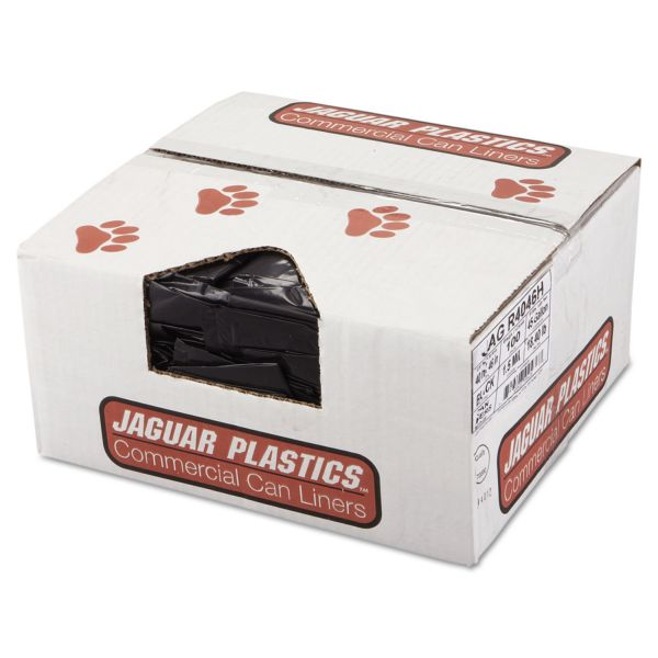 Jaguar Plastics Repro Low-Density Can Liners, 1.5 Mil, 40 x 46, Black, 10 Bags/Roll, 10 Rolls/CT