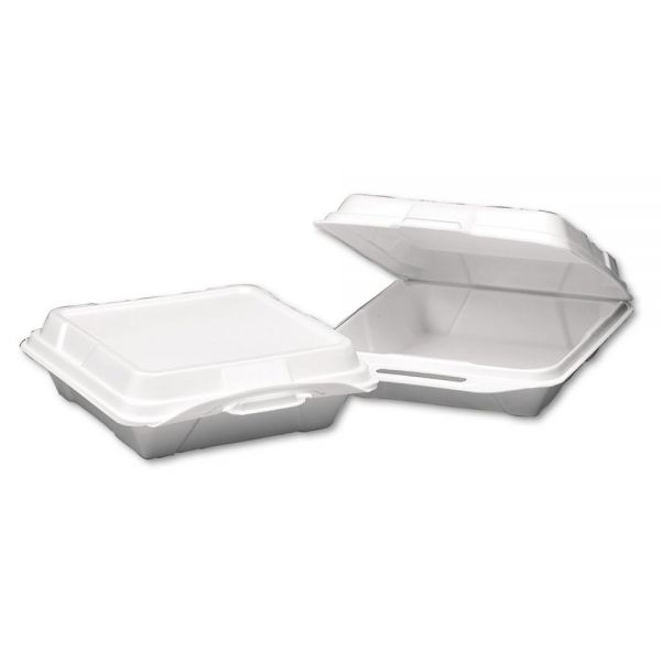 Genpak Foam Hinged Carryout Container, 1-Compartment, 9-1/4x9-1/4x3, White, 100/Bag