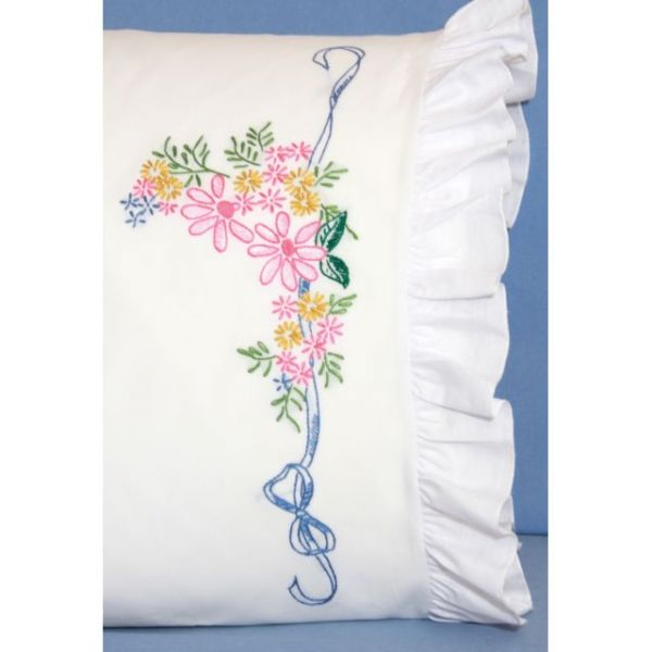 "Stamped Ruffled Edge Pillowcases 30""X20"" 2/Pkg"