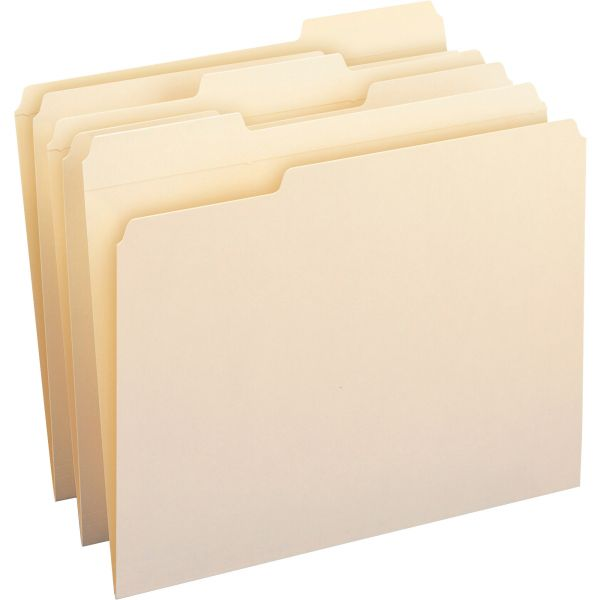 Smead 100% Recycled Manila File Folders with Reinforced Tabs
