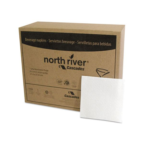 Cascades PRO Select Beverage Napkins, 1 Ply, 8 1/2 x 8 1/2, White, 1000/PK, 4000/Carton