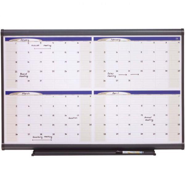Quartet Prestige Total Erase Monthly Calendar, 36 x 24, Gray Frame