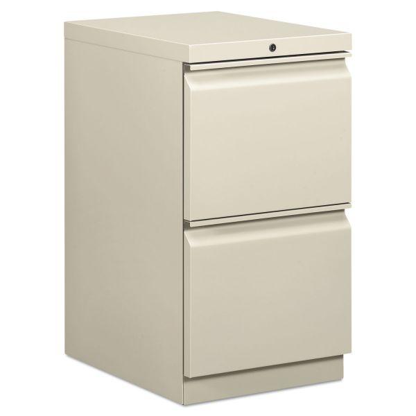 HON Efficiencies Mobile Pedestal File w/Two File Drawers, 19-7/8d, Light Gray