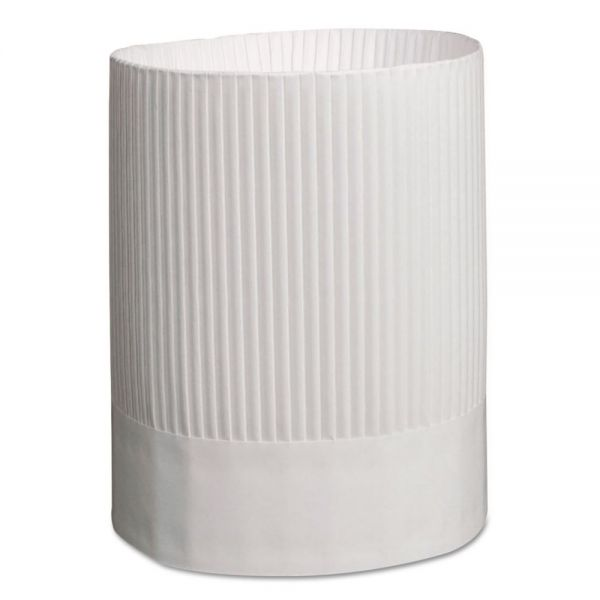 Royal Stirling Fluted Chef's Hats, Paper, White, Adjustable, 9 in. Tall, 12/Carton