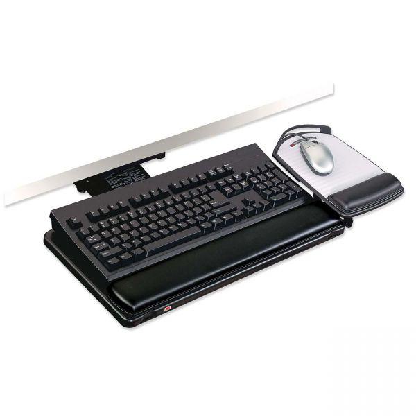 "3M Positive Locking Keyboard Tray, Highly Adjustable Platform, 21 3/4"" Track, Black"