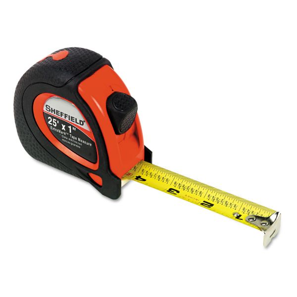 """Great Neck Sheffield ExtraMark Tape Measure, Red with Black Rubber Grip, 1"""" x 25 ft"""