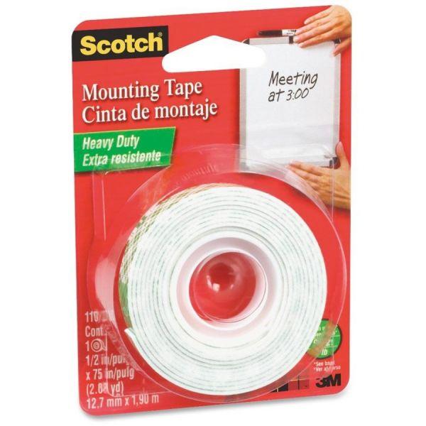 "Scotch Foam Mounting Double-Sided Tape, 1/2"" Wide x 75"" Long"