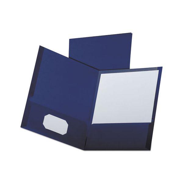 Oxford Linen Finish Twin Pocket Folders, 100-Sheet Capacity, Navy, 25/Box