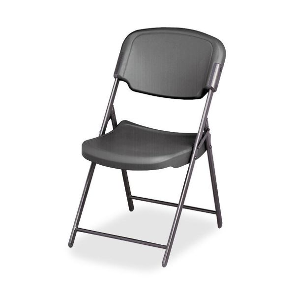 Iceberg Rough N Ready Series Resin Folding Chair, Steel Frame, Charcoal