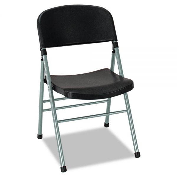 Cosco Endura Series Molded Folding Chair, Platinum Frame/Black Back/Seat, 4/Carton