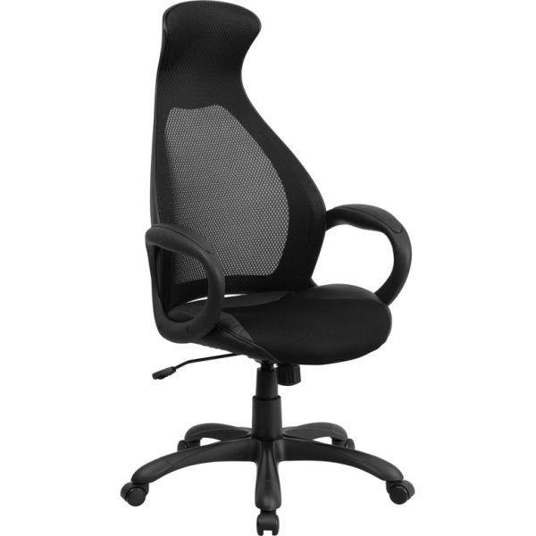 Flash Furniture High Back Mesh Office Chair with Leather Seat Insert