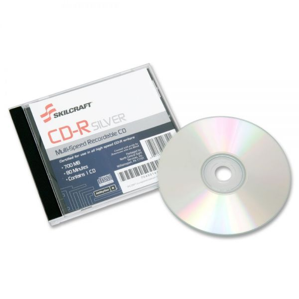 SKILCRAFT Recordable CD Media With Jewel Case